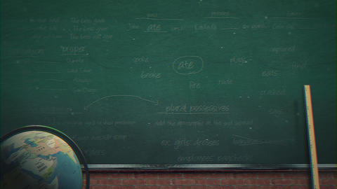 Closeup mathematical formula and elements on blackboard, school background of Animation