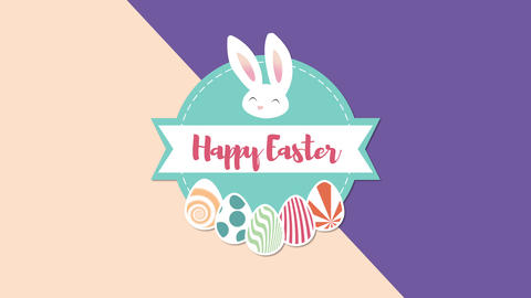 Animated closeup Happy Easter text and rabbit on purple and brown vertigo Animation