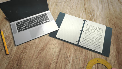 Closeup table of student with notebook and laptop, school background CG動画