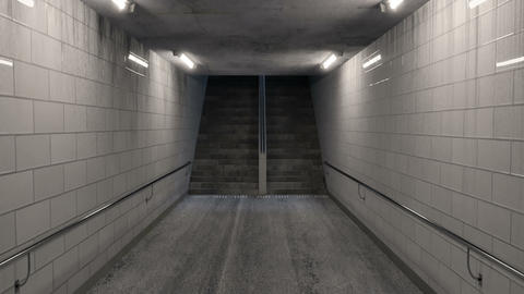 animation of darken underpass with lights and staircase at the end at night Animation