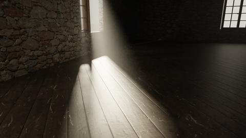 Animation of medieval empty room with light rays at window Animation