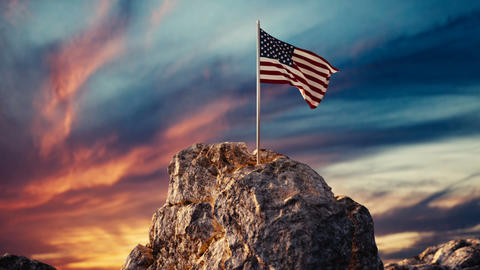 Animation of waving American flag on rocky landscape Animation