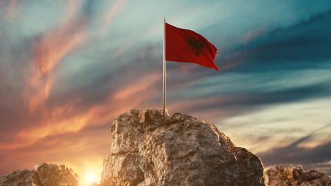 waving albanian flag on rocky landscape Animation