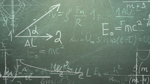 Closeup mathematical formula and elements on blackboard, school background Animation