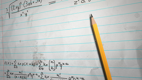 Closeup mathematical formula and elements on paper, school background Animation