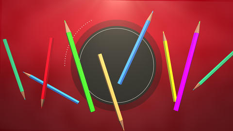 Closeup of kids background with colourful pencils, school background Animation