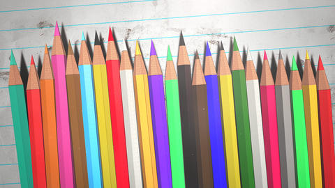 Closeup colorful pencil on paper, school background of education theme Animation