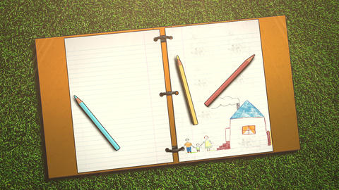 Closeup of kids background with notebook and pencil, school background Animation