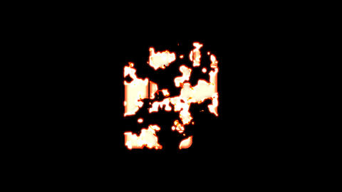 Symbol copy burns out of transparency, then burns again. Alpha channel Premultiplied - Matted with Animation