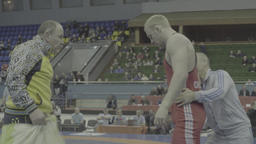 Coach and athlete during break wrestling competitions. Kyiv. Ukraine Live Action
