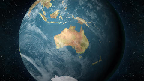 Planet Earth, zooming in on the Australian continent Animation