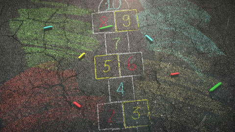 Closeup colorful chalk on street, school background of education theme Videos animados