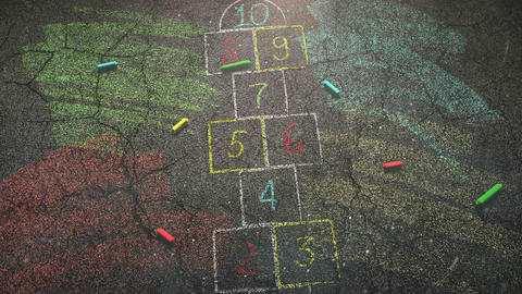 Closeup colorful chalk on street, school background Animation