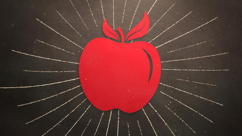 Closeup motion of school elements, education background with apple Videos animados
