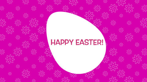 Animated closeup Happy Easter text and egg on pink background Animation