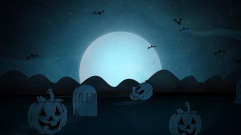 Halloween background animation with the coffins, pumpkins, bats, skulls and moon Videos animados