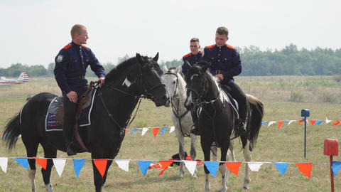 Cossacks in traditional Cossack military uniform on horseback Footage