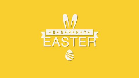 Animated closeup Happy Easter text and rabbit on yellow background Videos animados