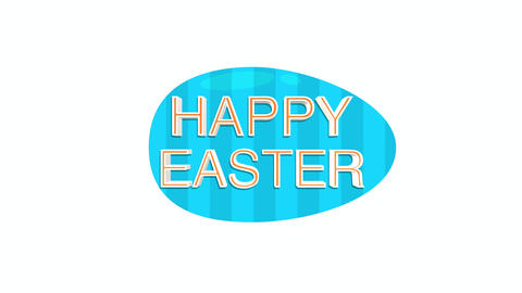 Animated closeup Happy Easter text and egg on white background Animation