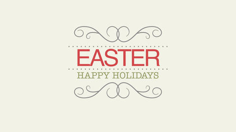 Animated closeup Happy Easter text on white background Animation