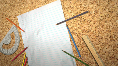 Closeup table of student with notebook and pencil, school background Animation