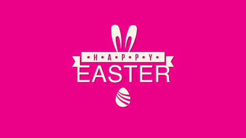 Animated closeup Happy Easter text and egg on red background Animation