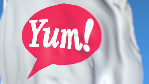 Waving flag with Yum Brands logo, close-up. Editorial loopable 3D animation Live Action