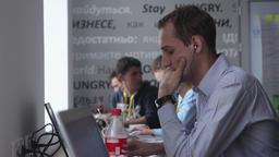People work in the office. Coworking. Kyiv. Ukraine Footage