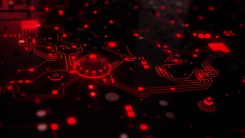 3D Red Sci-Fi CPU Circuit Board Intro Logo Background Animation