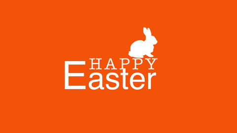 Animated closeup Happy Easter text and rabbit on orange background Videos animados