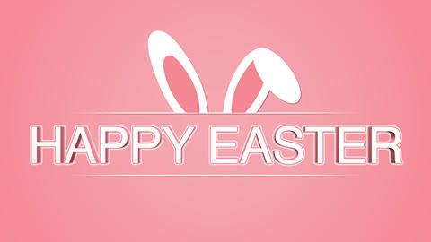 Animated closeup Happy Easter text and rabbit on rose background Animation