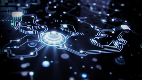 3D White Sci-Fi CPU Circuit Board Intro Logo Background Animation