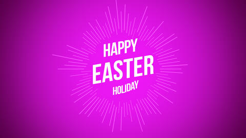 Animated closeup Happy Easter text on purple background Animation
