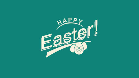 Animated closeup Happy Easter text and eggs on green background Animation