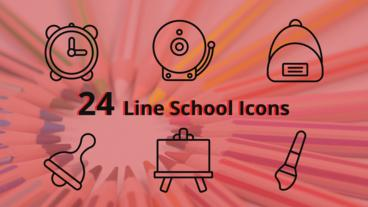 Line School Icons After Effects Template