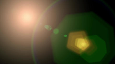 Isolated orange, yellow light rays animation. Shine or sun effect on black screen with bokeh. Dust, Animation
