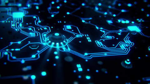 3D Blue Sci-Fi CPU Circuit Board Intro Logo Background Animation