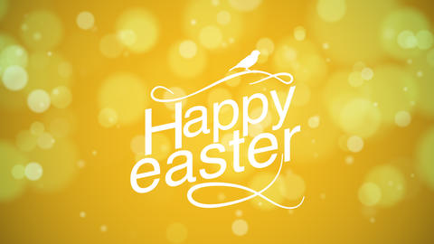 Animated closeup Happy Easter text on yellow background Animation