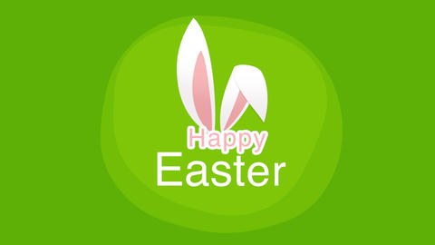 Animated closeup Happy Easter text and rabbit on green background Videos animados