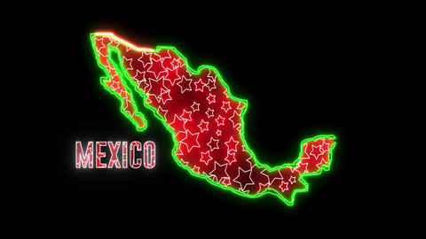 Abstract creative neon Mexico map. Glowing shiny led light of outline Mexican ground Animation