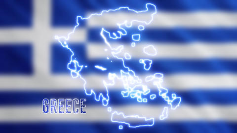 Abstract creative neon Greece map. Geography of Greek ground with glowing shiny Led light Animation