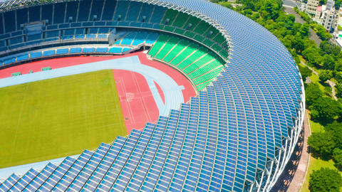 aerial View of Kaohsiung National Stadium (World Games Stadium). solar panel on the roof Live影片