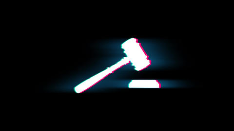 Justice, Hammer Judge Court, law Symbol on Glitch Retro Vintage Animation Live Action