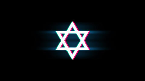 David The Jewish star Religion Symbol on Glitch Retro Vintage Animation Live Action