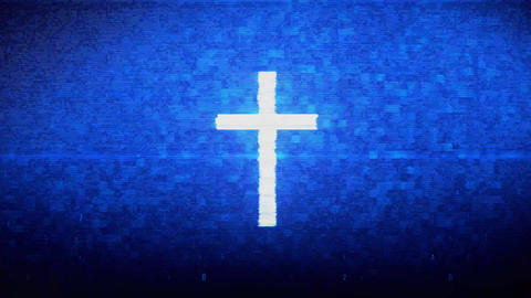 Church Cross Christianity Religion Symbol Digital Pixel Noise Error Animation Live Action