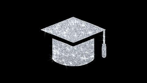 Education, Graduation cap, University hat Icon Shining Glitter Loop Blinking Footage