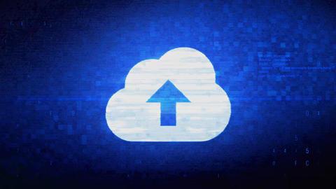 Cloud upload, cloud data, online storage Symbol Digital Pixel Noise Error Live Action