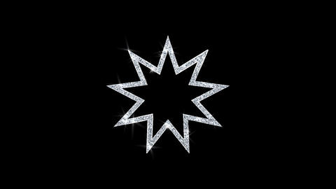 Bahai Nine pointed star Bahaism Icon Shining Glitter Loop Blinking Particles Live Action