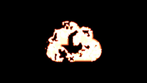 Symbol cloud download burns out of transparency, then burns again. Alpha channel Premultiplied - Animation