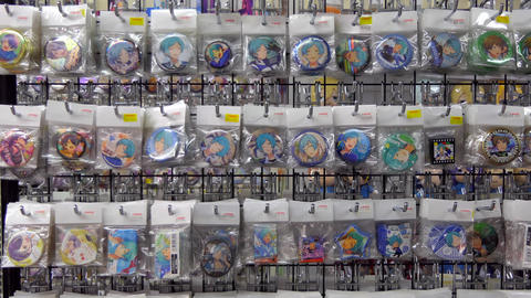 Anime Manga Pins And Gadgets At Store Of Tokyo Japan Footage